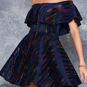 NWT 💕 Blackmilk Rainbow Pleats Off Shoulder Dress